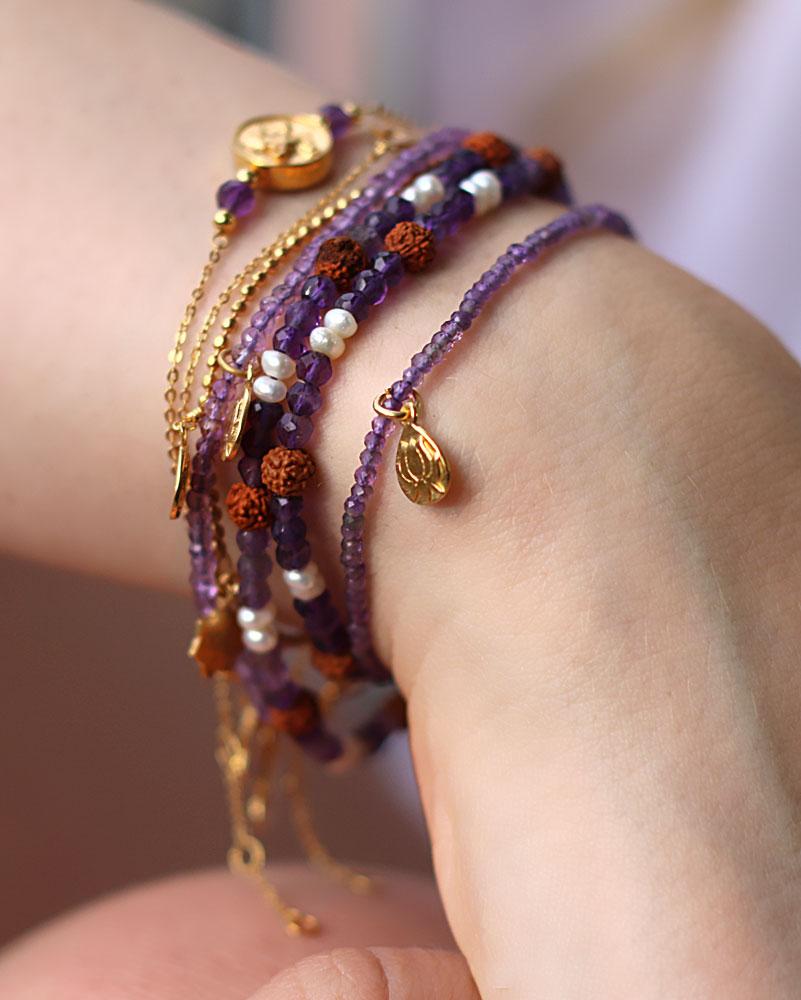 Gold Pearl Lotus Bracelet