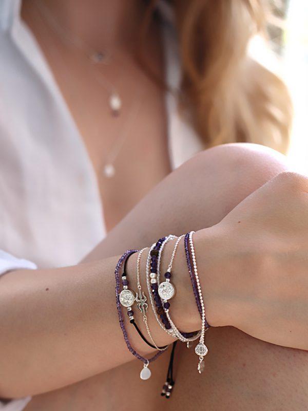 Amethyst Rudraksha Bracelet Silver